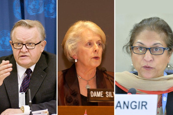 Former Finnish President and Nobel Peace Prize laureate Martti Ahtisaari, former Governor-General and High Court judge of New Zealand Silvia Cartwright (center) and former President of Pakistan's Human Rights Commission Asma Jahangir (right ). UN Photos/Stephenie Hollyman, Mark Garten, Jean-Marc Ferre.