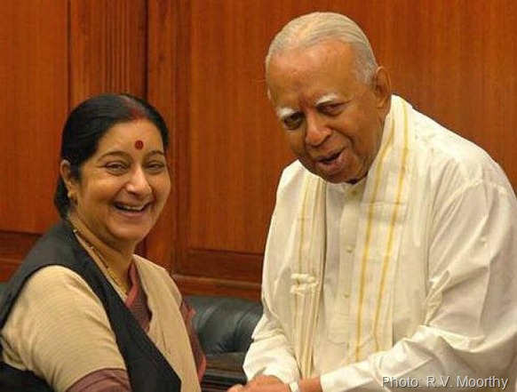 The Hindu Tamil National Alliance leader and Sri Lankan MP R. Sampanthan being greeted by External Affairs Minister Sushma Swaraj during a Meeting at South Block in New Delhi on Friday. Photo: R.V. Moorthy