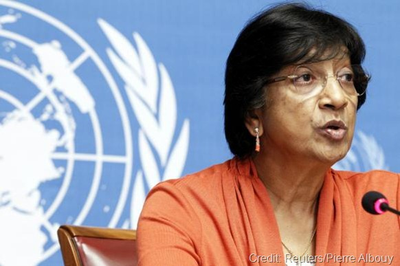 UN High Commissioner for Human Rights Navi Pillay speaks during a news conference for a report on ''the right to privacy in the digital age'' at the United Nations in Geneva, July 16, 2014.