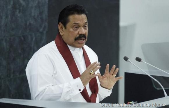 Sri Lanka's President Mahinda Rajapaksa addresses the 68th United Nations General Assembly at U.N. headquarters in New York, September 24, 2013.