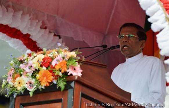 Sri Lankan President Maithripala Sirisena speaks outside of the Buddhist Temple of Tooth in the central town of Kandy on January 11, 2015. (Ishara S.Kodikara/AFP/Getty Images)